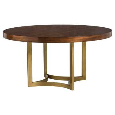 Karsten Modern Brushed Gold Round Wood Dining Table - Kathy Kuo Home