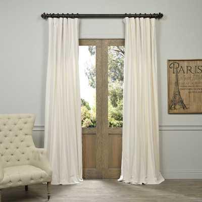 "Mikayla Velvet Pole-Pocket Semi-Opaque Single Curtain Panel, Ivory - 50"" W x 120"" L - AllModern"