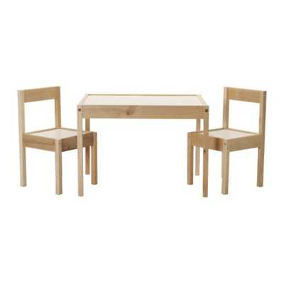 LÄTT Children's table and 2 chairs, white, pine - Ikea