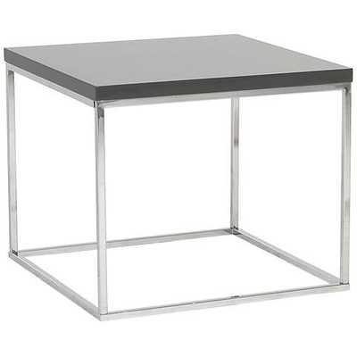 Teresa Square High-Gloss Gray Side Table - Lamps Plus