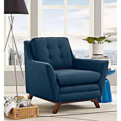 Beguile Azure Fabric Tufted Armchair blue - Lamps Plus