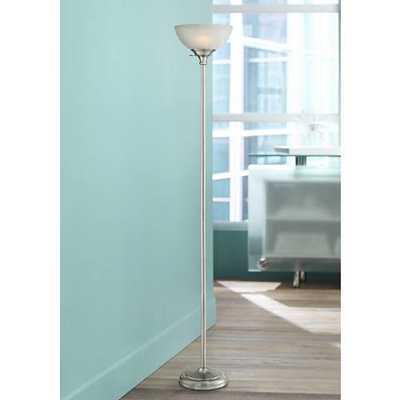 Maddox Satin Nickel Torchiere Floor Lamp black - Lamps Plus
