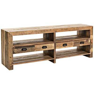 Mariposa Rustic Natural Mixed Reclaimed Wood Media Console - Lamps Plus