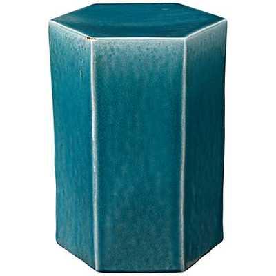 Jamie Young Porto Large Hexagon Azure Ceramic Side Table blue, 1 - Lamps Plus