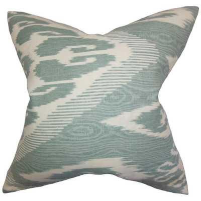 """Fernande Ikat Pillow Teal - 18"""" x 18"""" - Poly Insert - Linen & Seam"""