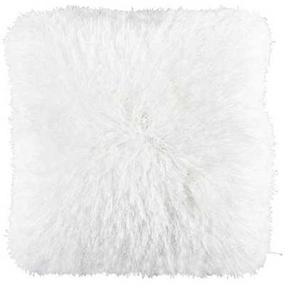 """Dallas White 20"""" Square Decorative Shag Pillow - Lamps Plus"""