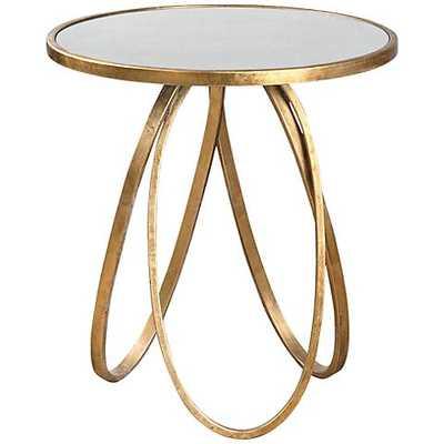 Uttermost Montrez Glazed Gold Leaf Mirror Accent Table - Lamps Plus