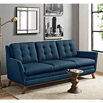 """Beguile Azure 83 1/2"""" Wide Fabric Tufted Sofa blue - Lamps Plus"""