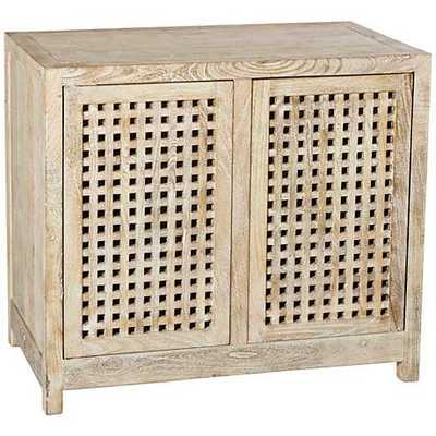 Global Views Larkin Driftwood Lattice 2-Door Cabinet - Lamps Plus