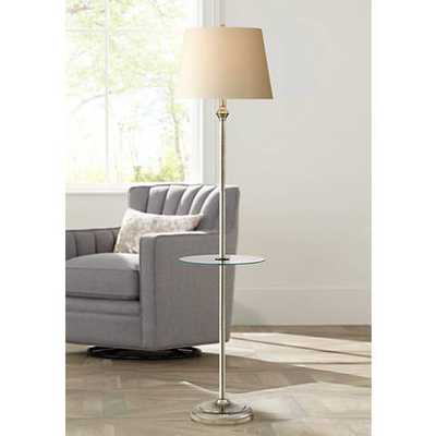 Dayton Satin Nickel Floor Lamp with Glass Tray Table black - Lamps Plus