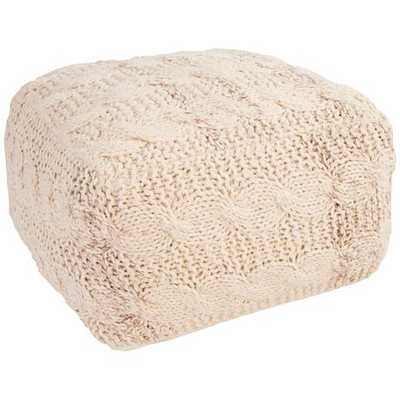 Jaipur Milford White Wool Square Pouf Ottoman ivory - Lamps Plus