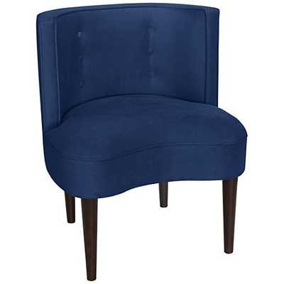 Curve Ball Velvet Blue Fabric Armless Accent Chair navy - Lamps Plus