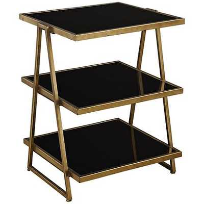 Uttermost Garrity Leaf Accent Table with Black Shelves gold - Lamps Plus