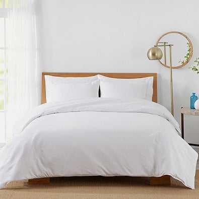 450-Thread-Count Cotton Sateen Full/Queen Duvet Cover Set in White, Queen - Bed Bath & Beyond