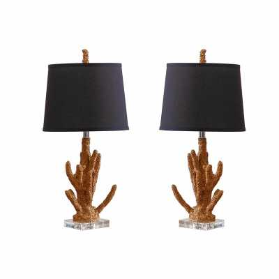 CORAL TABLE LAMP (SET OF 2) - GOLD CORAL - Abbyson Living