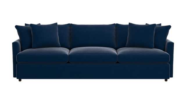 "Lounge II Petite 3-Seat 105"" Grande Sofa - Fabric: View, Navy (velvet look) - Crate and Barrel"