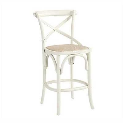 Constance Wood Counter Stool - Worn White - Ballard Designs