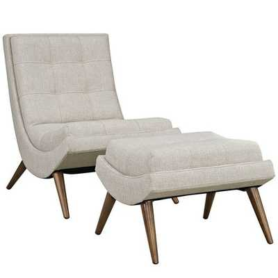 RAMP FABRIC LOUNGE CHAIR SET IN SAND - Modway Furniture