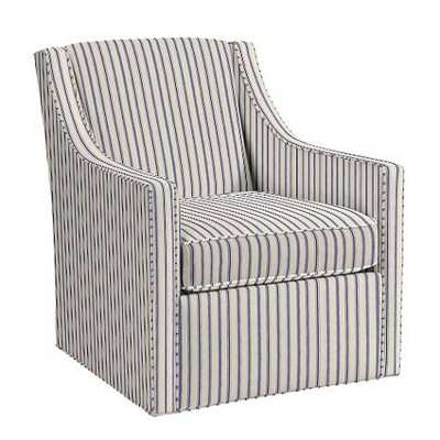 Carlyle Swivel Chair - Vintage Ticking Stripe Navy - Ballard Designs