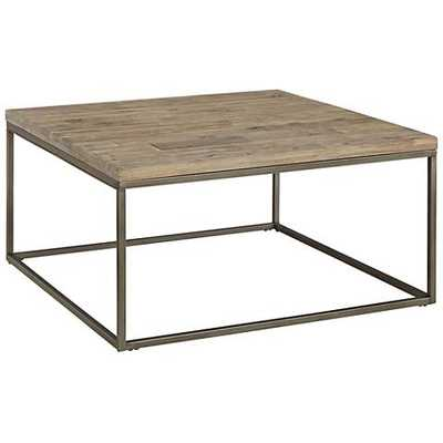 Alana Steel and Acacia Wood Top Square Coffee Table - Hayneedle