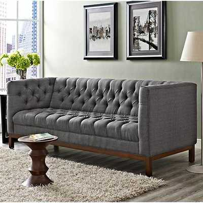 "Panache Gray 84"" Wide Fabric Tufted Sofa - Lamps Plus"
