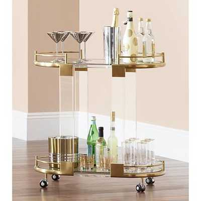 Adaline Acrylic and Gold Oval Bar Cart clear - Lamps Plus