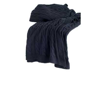 Cable Knit Dark Grey Throw - Home Depot