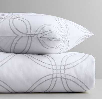 EMBROIDERED METALLIC LINKS DUVET COVER - White - Twin - RH Baby & Child