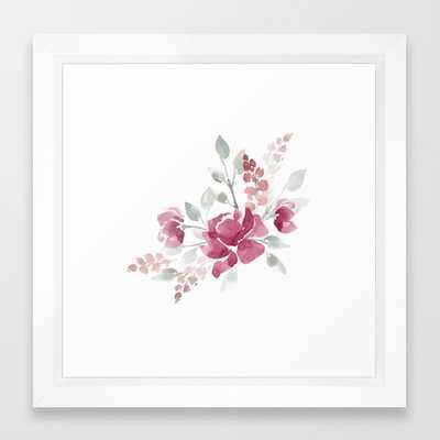 "Burgundy Watercolor Floral Art Print - 12"" x 12"" -Vector White Frame - Society6"