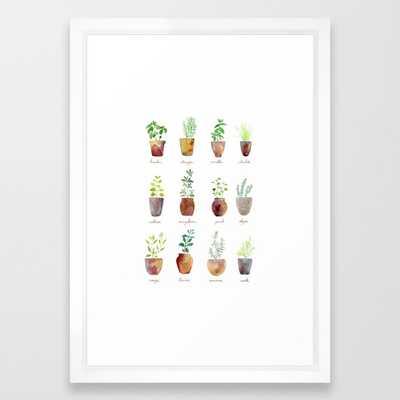 Culinary Herbs - white vector frame - 15 x 21 - Society6