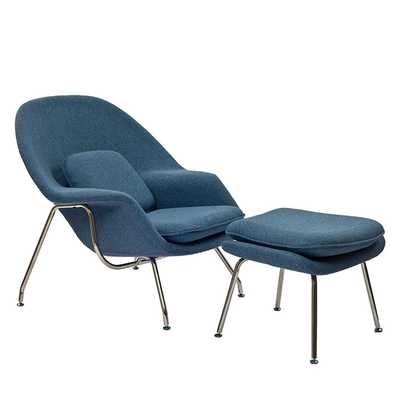 W Fabric Lounge Chair - Blue Tweed - Modway Furniture