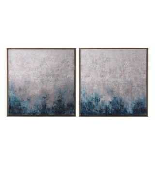 """""""Frost on Sapphire"""" Original Paintings, 2-Piece Set -  30""""Sq. - Framed - Horchow"""