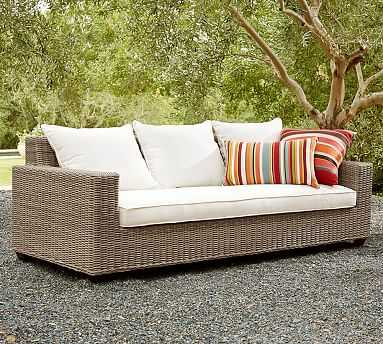 Torrey All-Weather Wicker Square Arm Grand Sofa, Natural - Pottery Barn