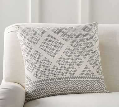 """Collette Jacquard Pillow Cover, 20"""", Gray - Pottery Barn"""
