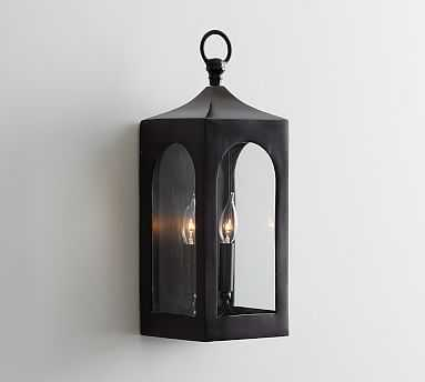 Caleb Indoor/Outdoor Sconce, Bronze/Glass - Pottery Barn