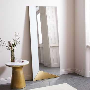 Geo Shapes Floor Mirror, White + Brass - West Elm