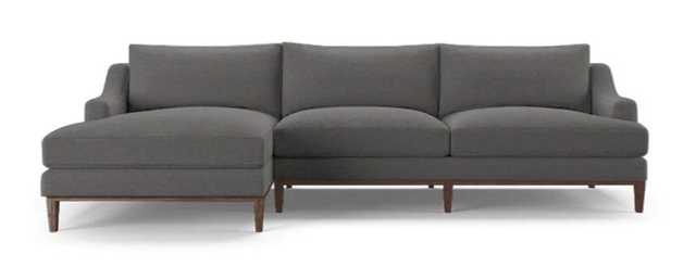 CUSTOM - Price Sectional - LEFT - Como Velvet Dark Gray - Coffee Bean wood finish - Joybird