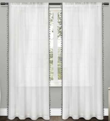 Tassels Textured Sheer Bordered Tassel Applique Rod Pocket Window Curtain Panel Pair Exclusive Home - Target