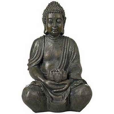 "Sitting Buddha Sculpture Solar 19 1/2"" High LED Sculpture - Lamps Plus"