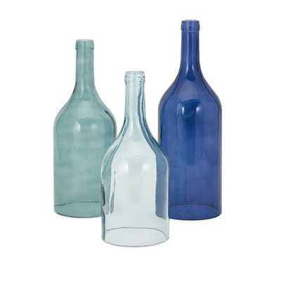 Monteith Blue Cloche Bottles - Set of 3 - Mercer Collection