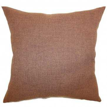 "Thaliard Solid Pillow Brown - 20"" x 20"" - Poly Insert - Linen & Seam"