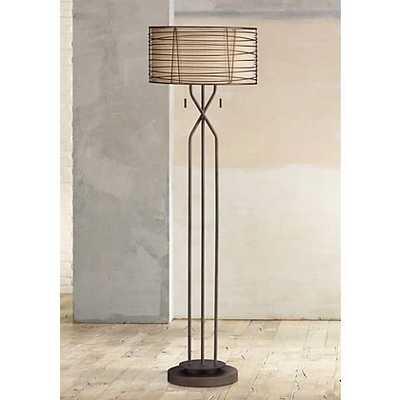 Marlowe Woven Bronze Metal Floor Lamp - Lamps Plus