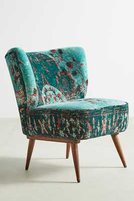 Dhurrie Occasional Chair -Dark Turquoise - Anthropologie