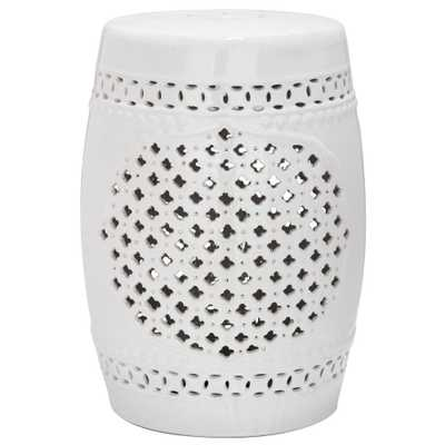 Quatrefoil White Ceramic Patio Stool - Home Depot