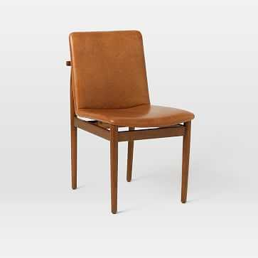Framework Leather Dining Chair, Saddle Leather, Nut, Dark Walnut - West Elm