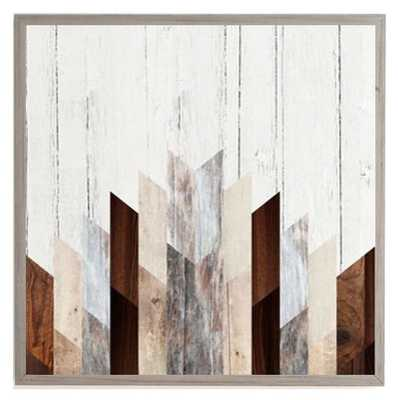 GEO WOOD 3 Framed Wall Art -20'x20' - weathered grey frame - Wander Print Co.