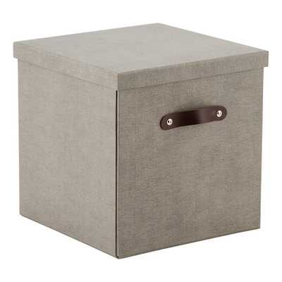 Bigso Marten Grey Storage Cube with Leather Handles - containerstore.com