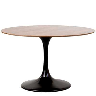 "LIPPA 48"" ROUND WALNUT DINING TABLE IN BLACK - Modway Furniture"
