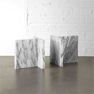set of 2 endiron marble bookends - CB2