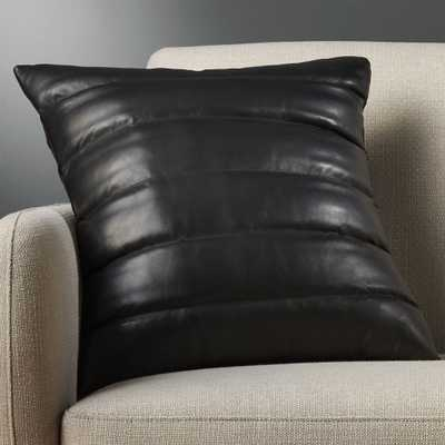 """18"""" izzy black leather pillow with feather-down insert"" - CB2"